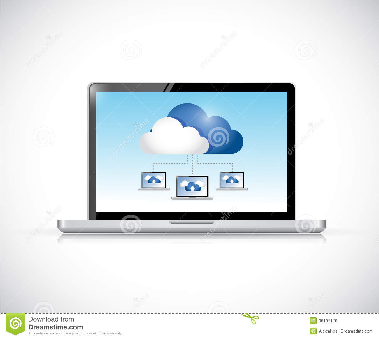 Networking Cloud Computing: Phone And Cloud Computing Computer Network. Royalty-Free