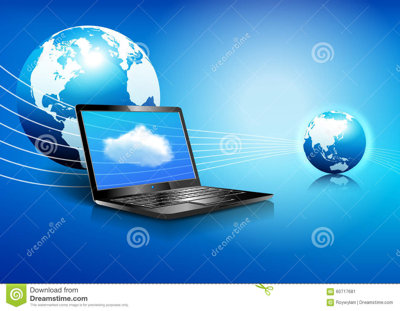 laptop cloud computing global digital communication world