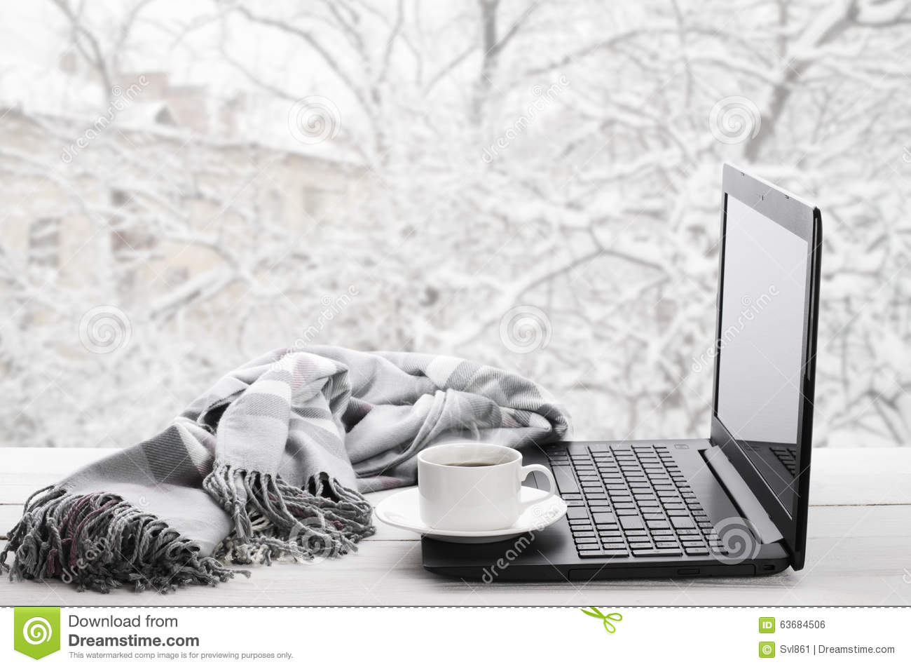 Laptop And Coffee Winter Window Stock Image