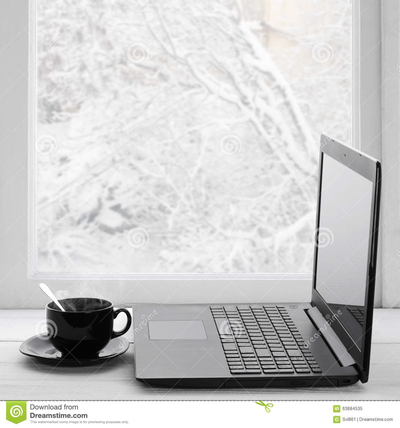 Laptop and coffee on winter window stock image image for Thermos fenetre