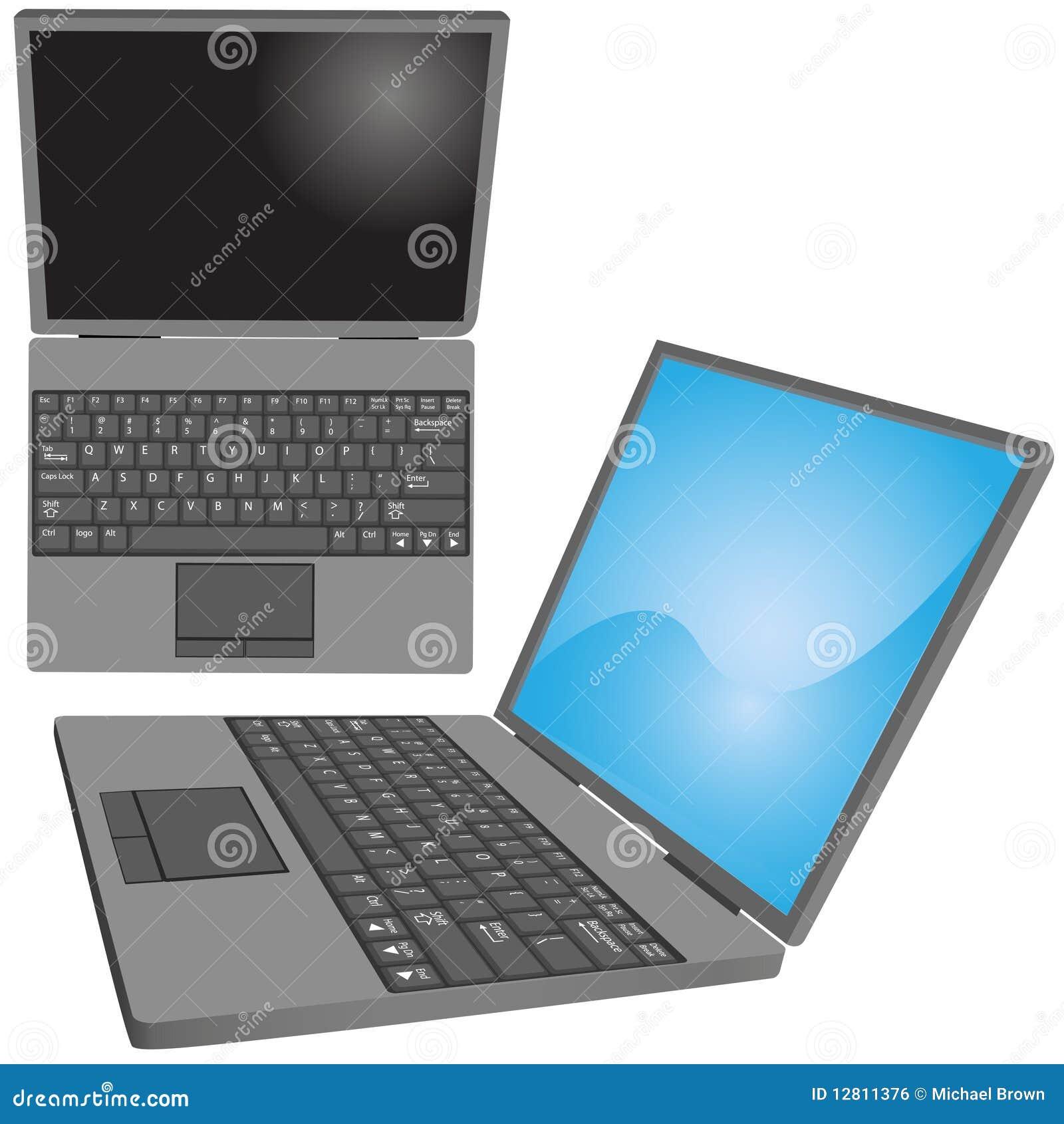 Laptop-Computer befestigt oberste Seitenansichten der Tastatur