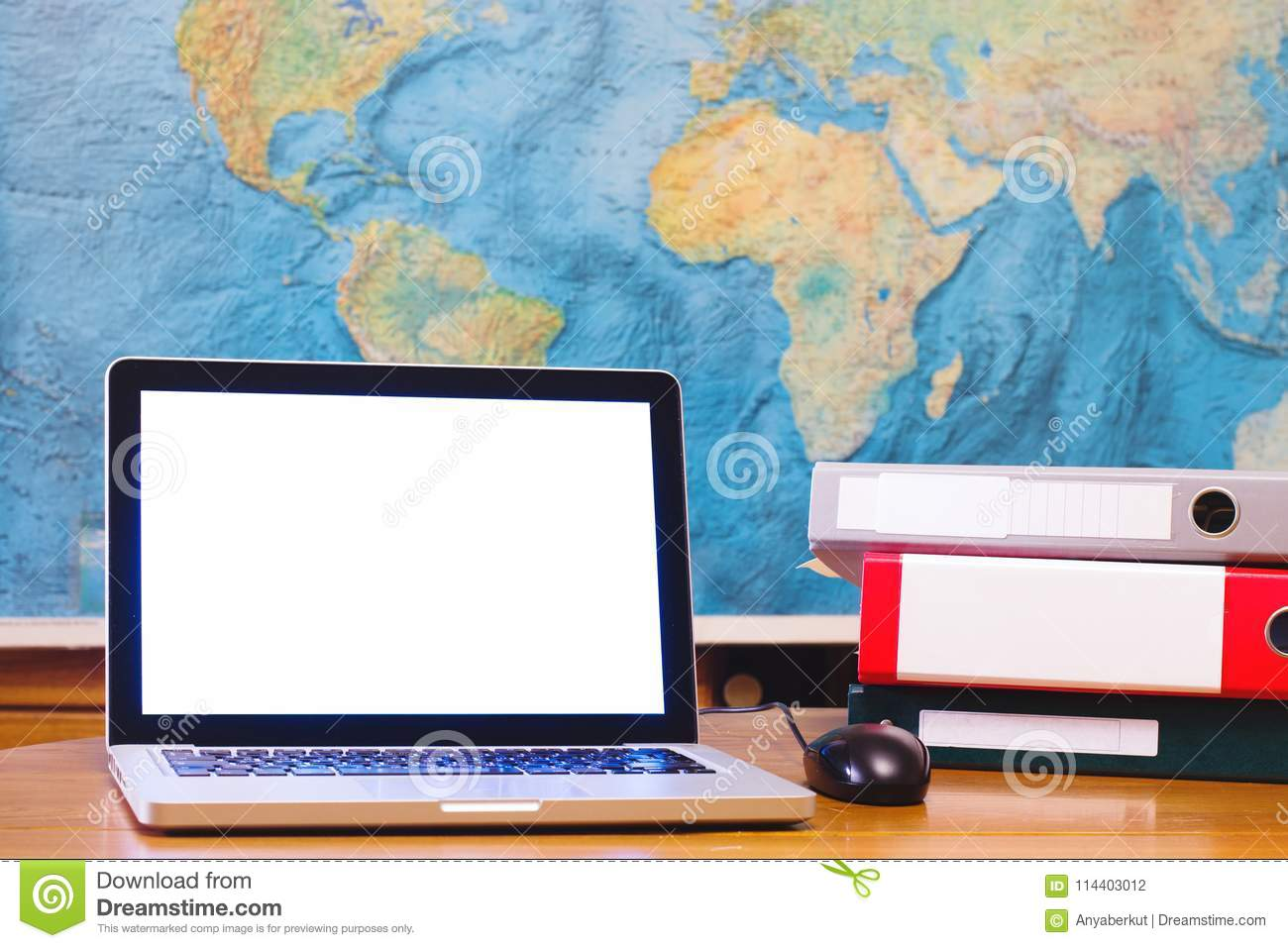 Laptop computer with blank empty screen on world map background laptop computer with blank empty screen on world map background royalty free stock photo gumiabroncs Choice Image