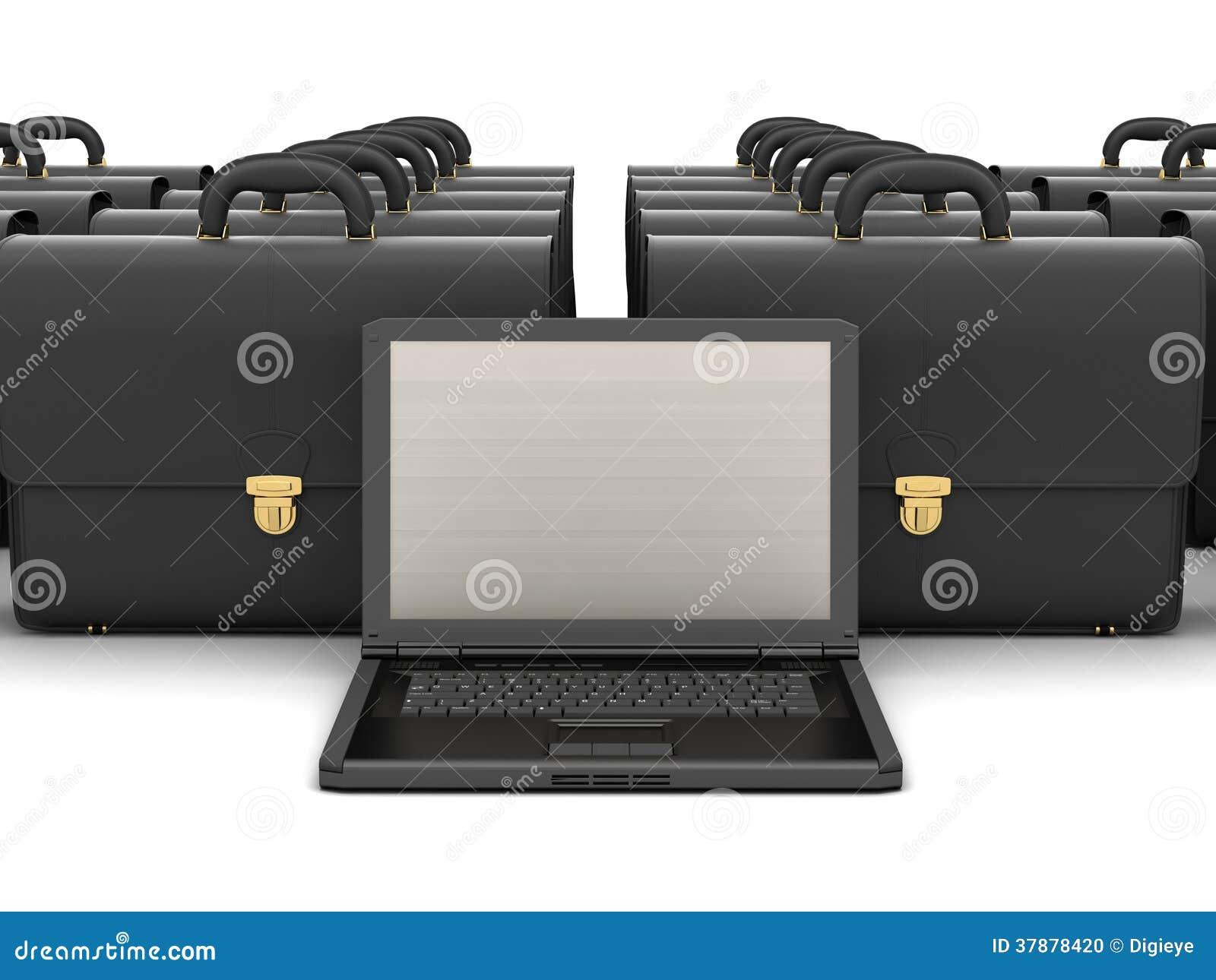 Laptop computer en zwarte bedrijfsaktentassen