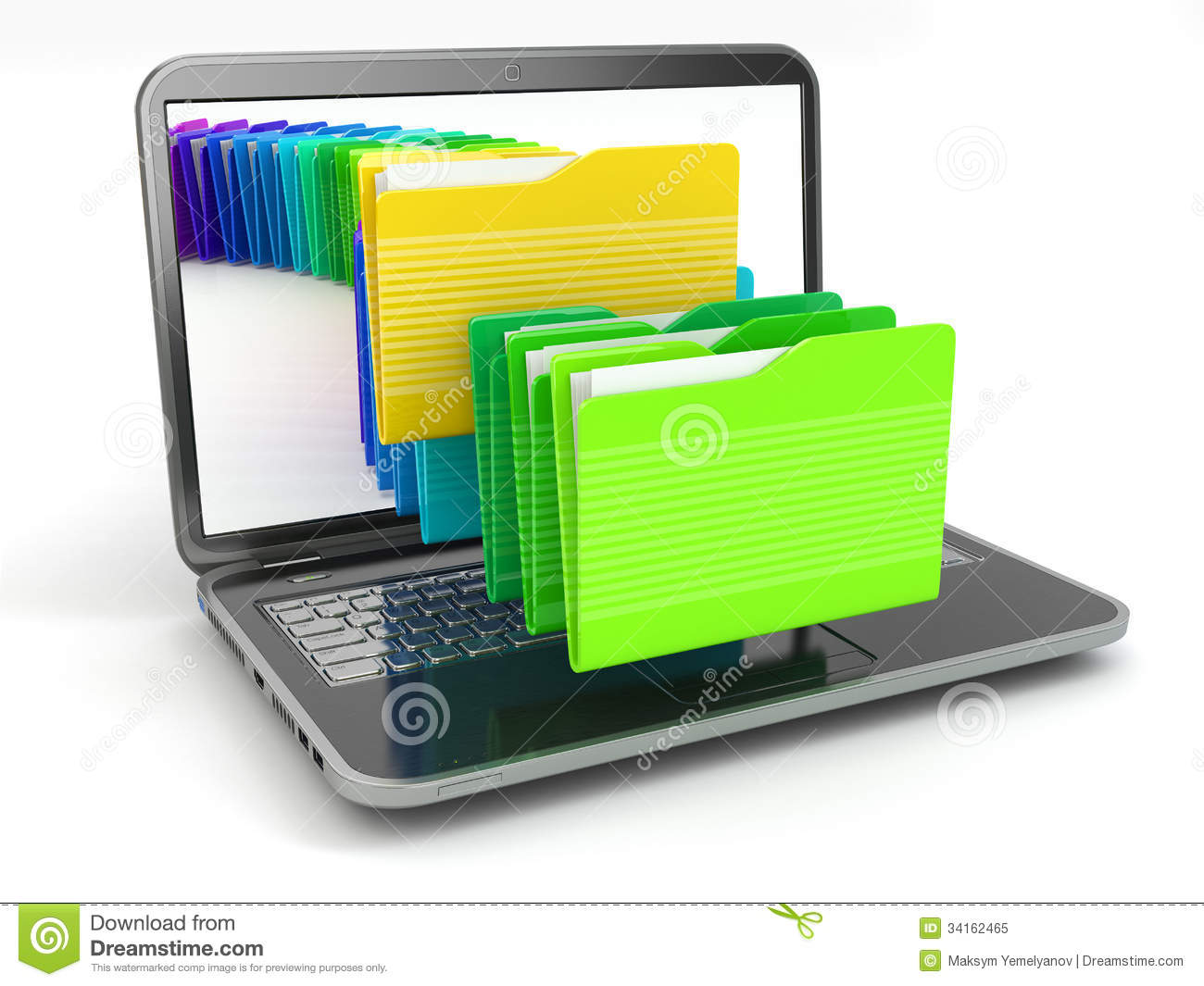 Laptop And Computer Files In Folders. Stock Illustration ...