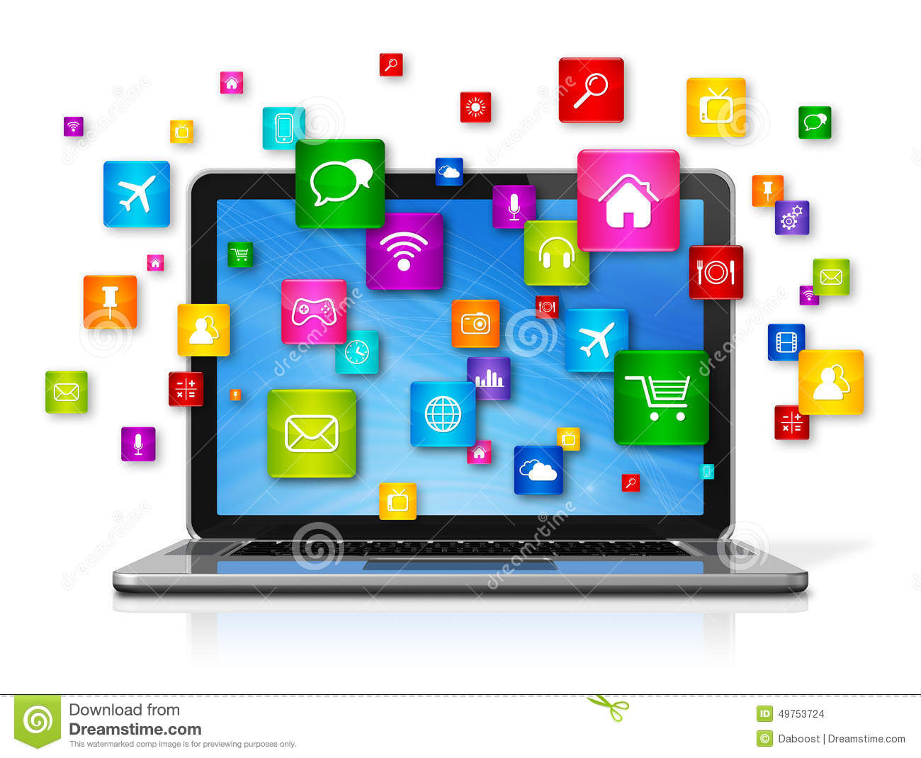 laptop computer and flying apps icons stock illustration clip art computer server clip art computers and people