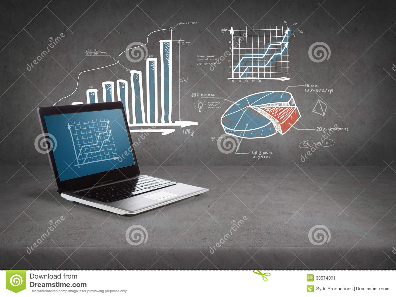 Laptop Computer With Graph On Screen Stock Image
