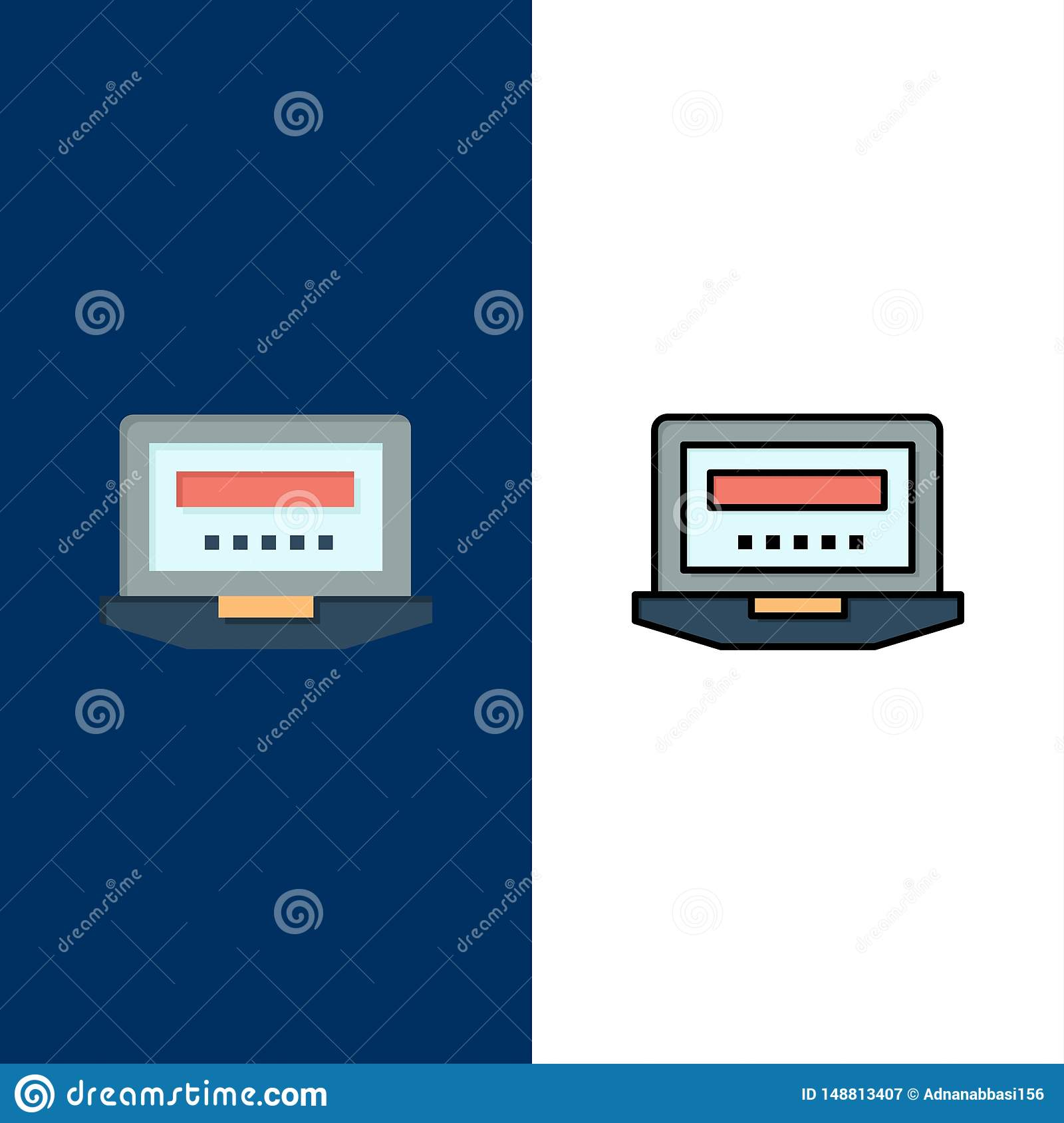 Laptop, Computer, Hardware, Education  Icons. Flat and Line Filled Icon Set Vector Blue Background