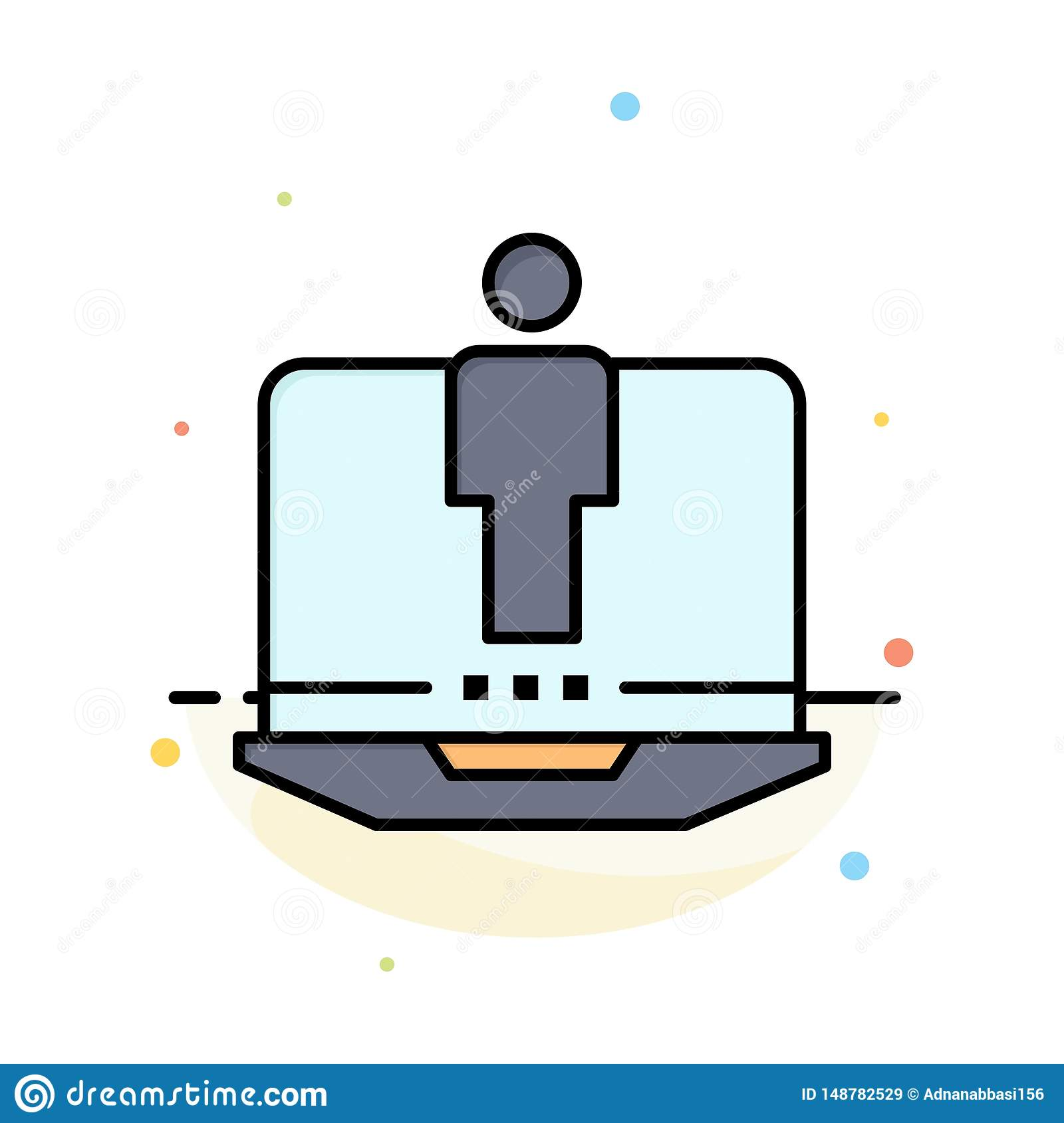 Laptop, Computer, Hardware, Service Abstract Flat Color Icon Template