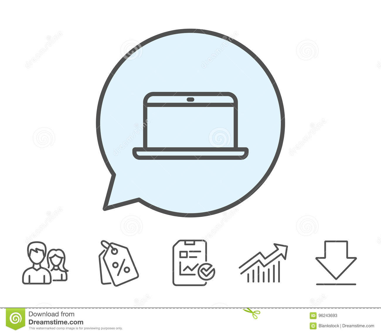 Laptop Computer Icon  Notebook Sign  Stock Vector