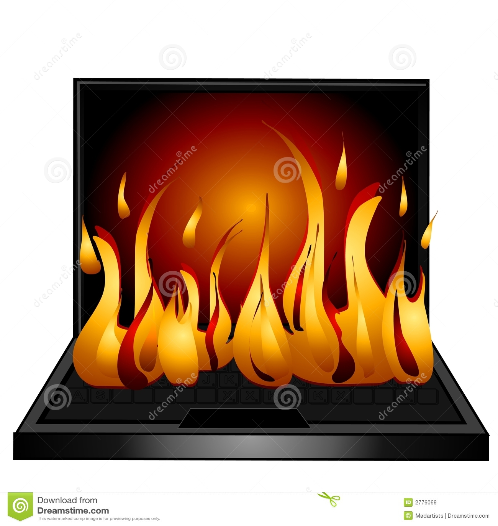 Laptop Computer Keyboard Fire Stock Illustration ...