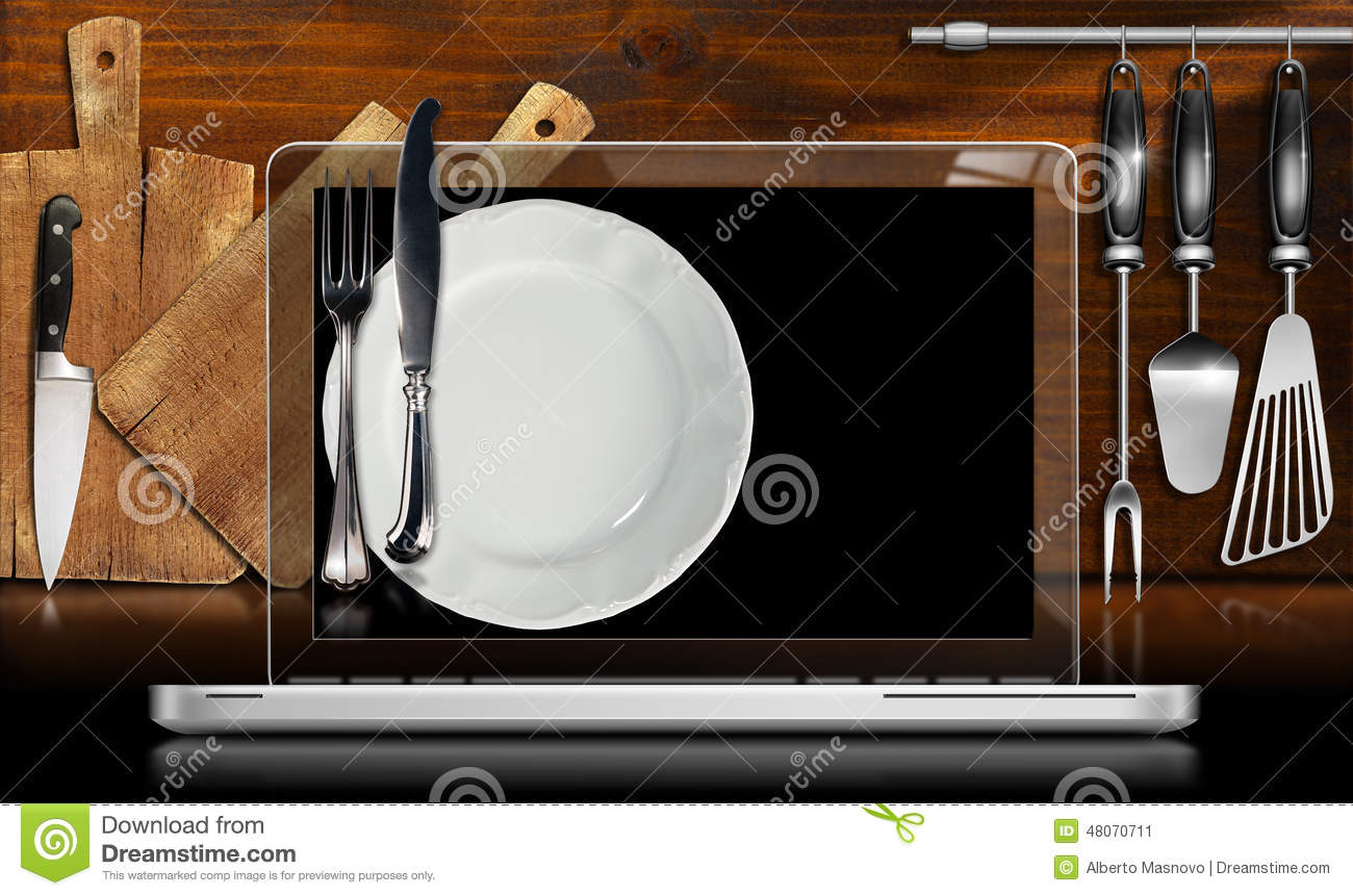 Laptop Computer In The Kitchen Stock Illustration Image