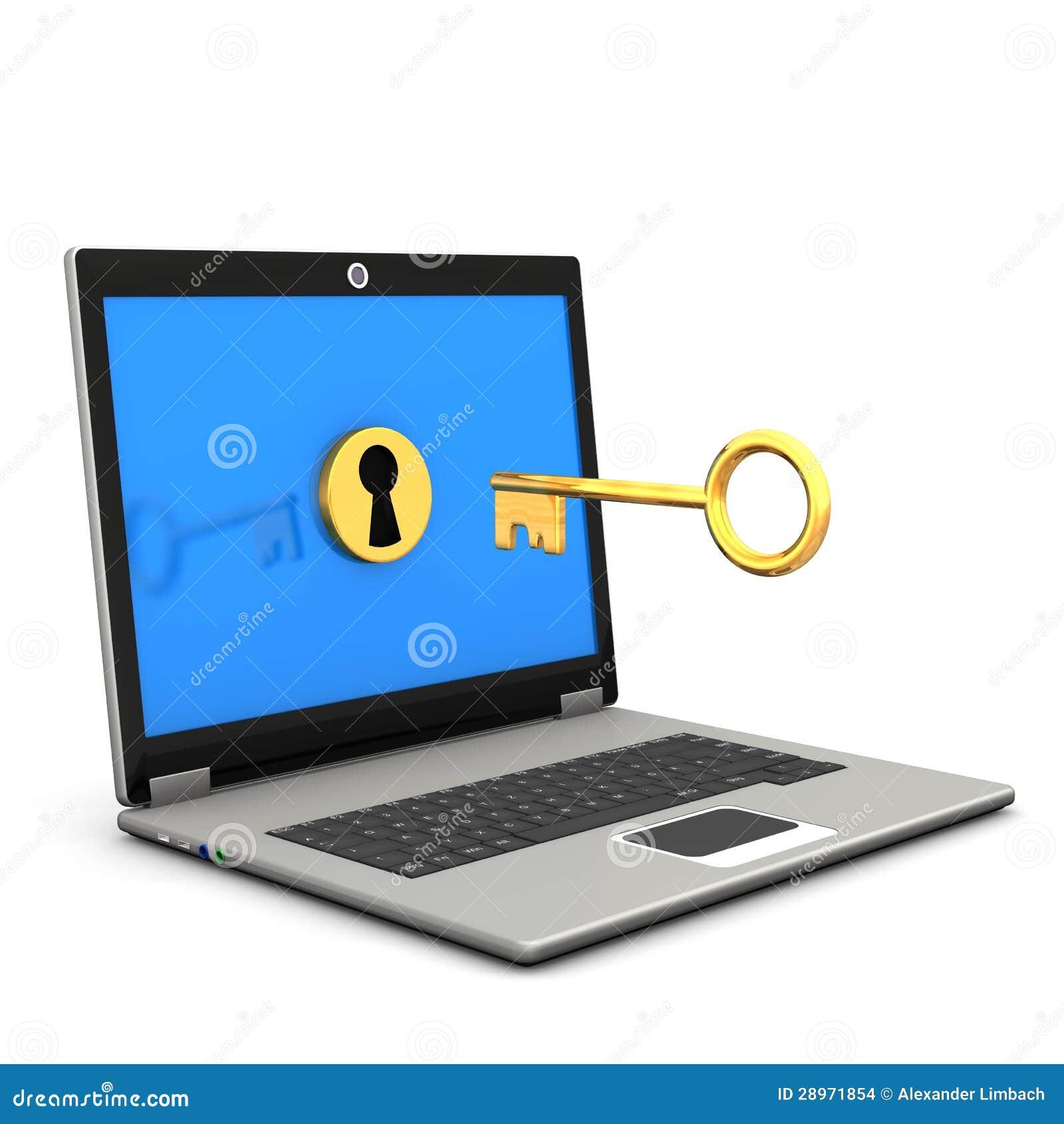 Laptop computer met sleutel en slot