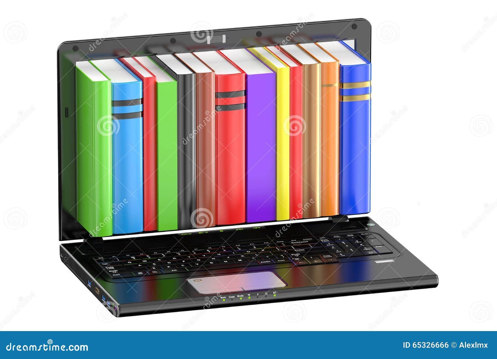 Laptop-Computer mit farbigen Büchern