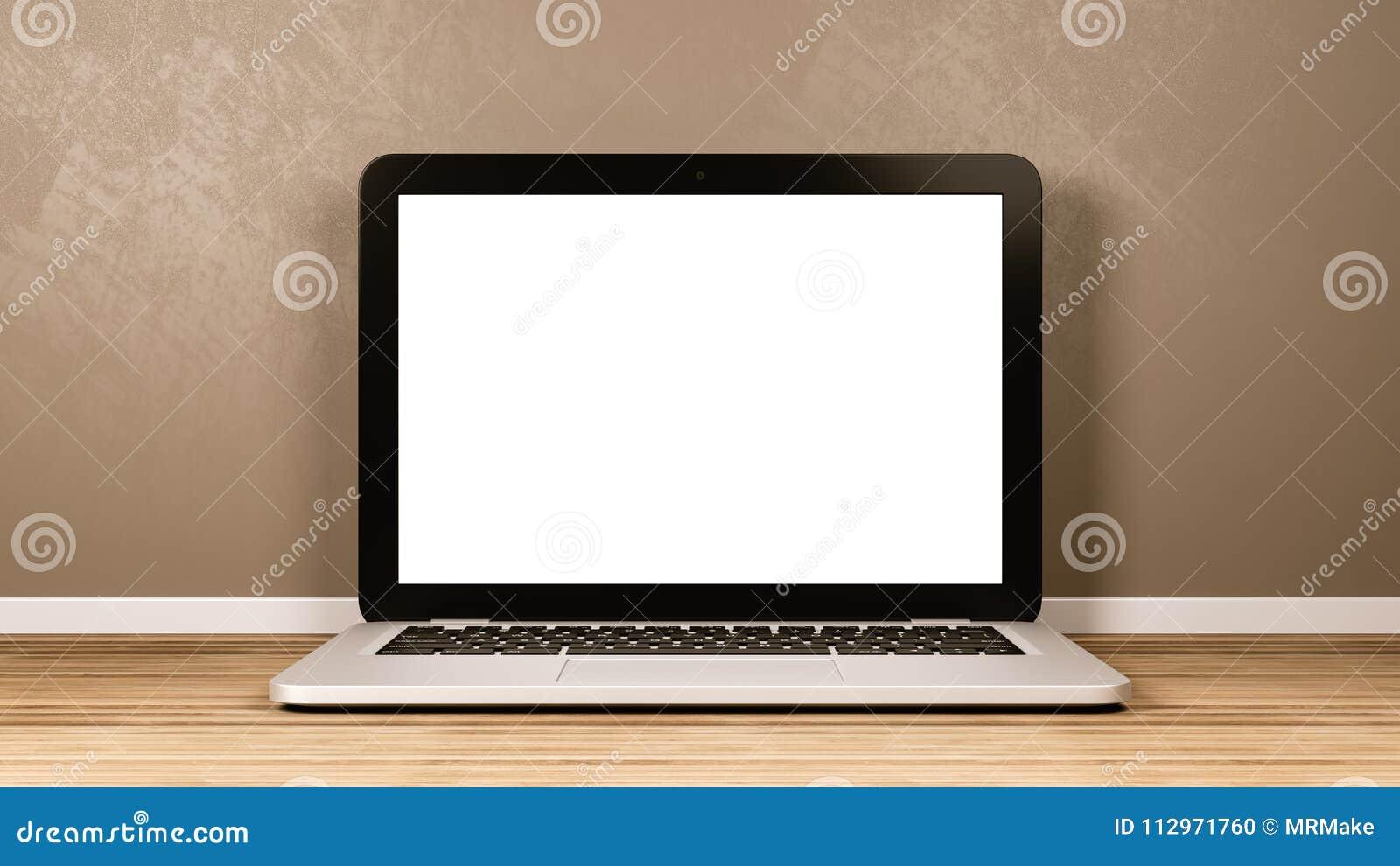 Laptop-Computer mit leerem Bildschirm im Raum