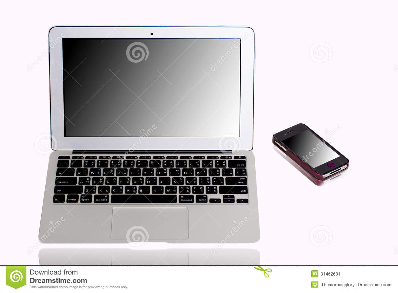 Laptop computer and mobile phone mirror monitor stock for Mirror your phone to pc