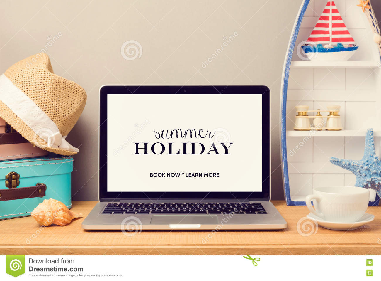 Laptop computer mock up template with beach items and home for Beach house decor items