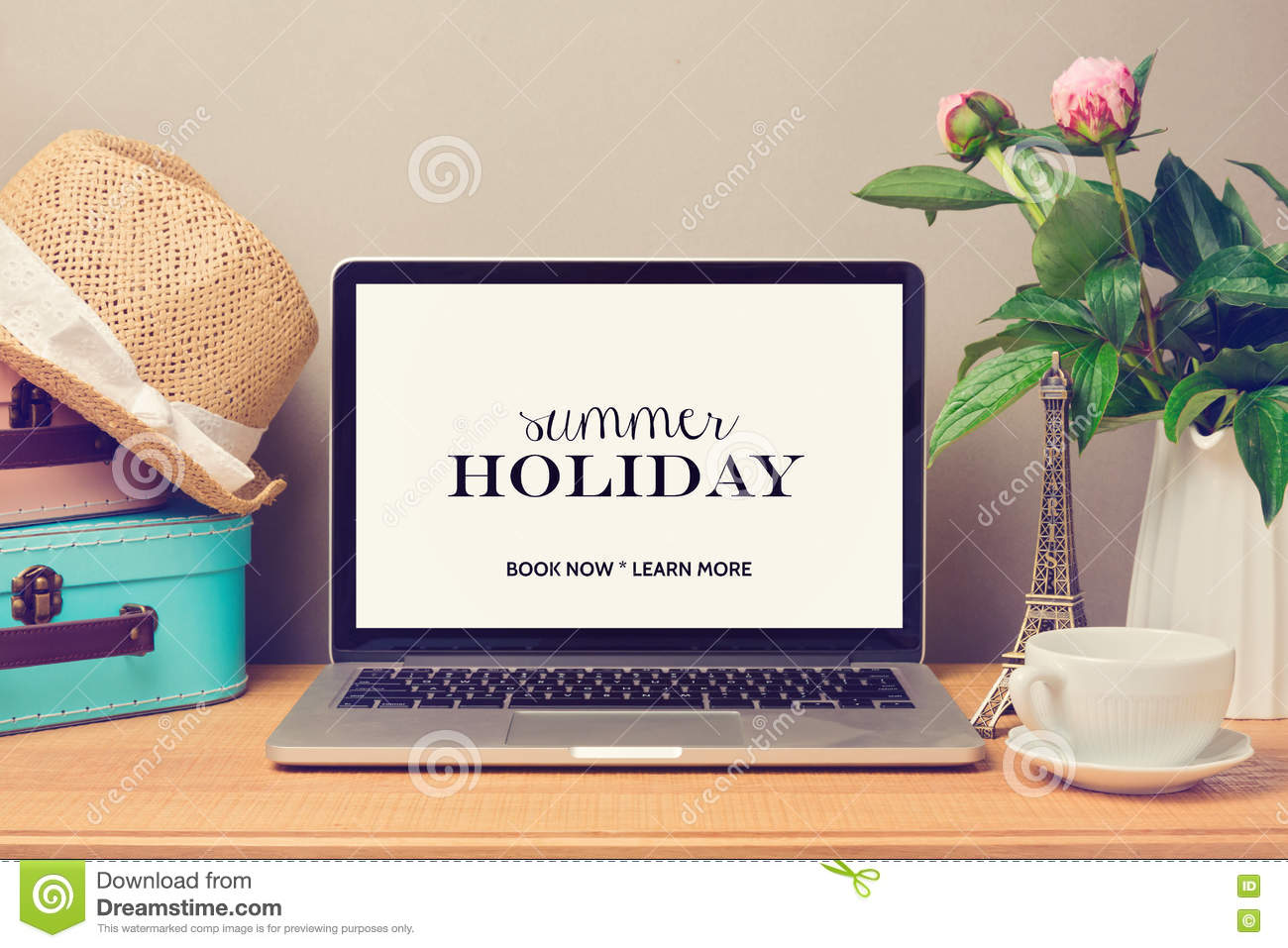 laptop computer mock up template  planning summer holiday vacation stock image