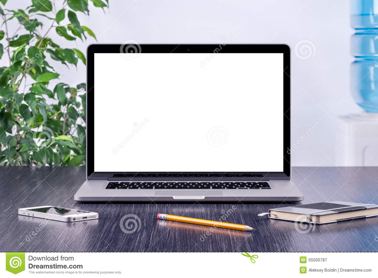 Laptop computer mockup with blank screen on office desk