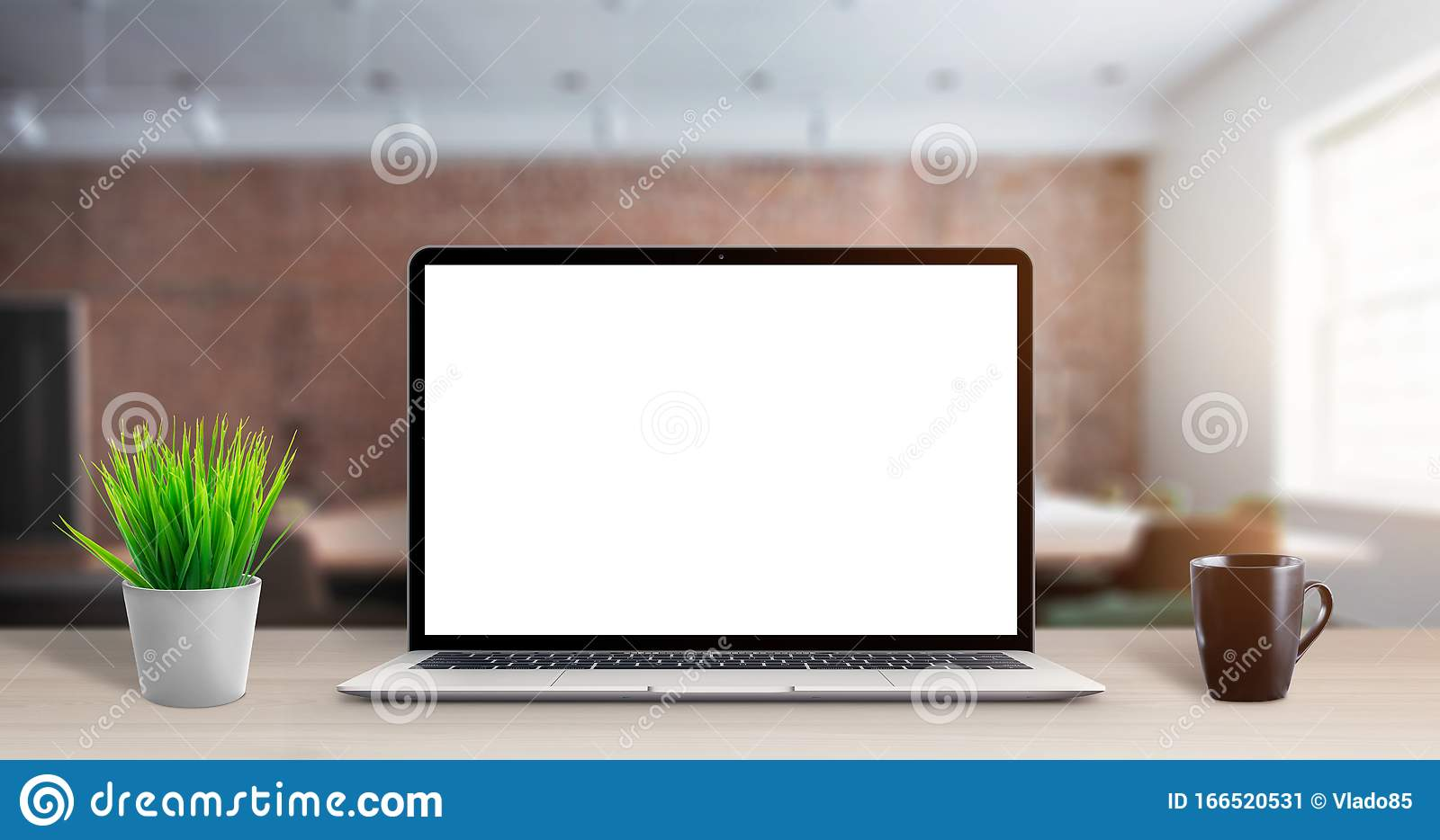 - Laptop Computer Mockup On Office Desk Stock Image - Image Of