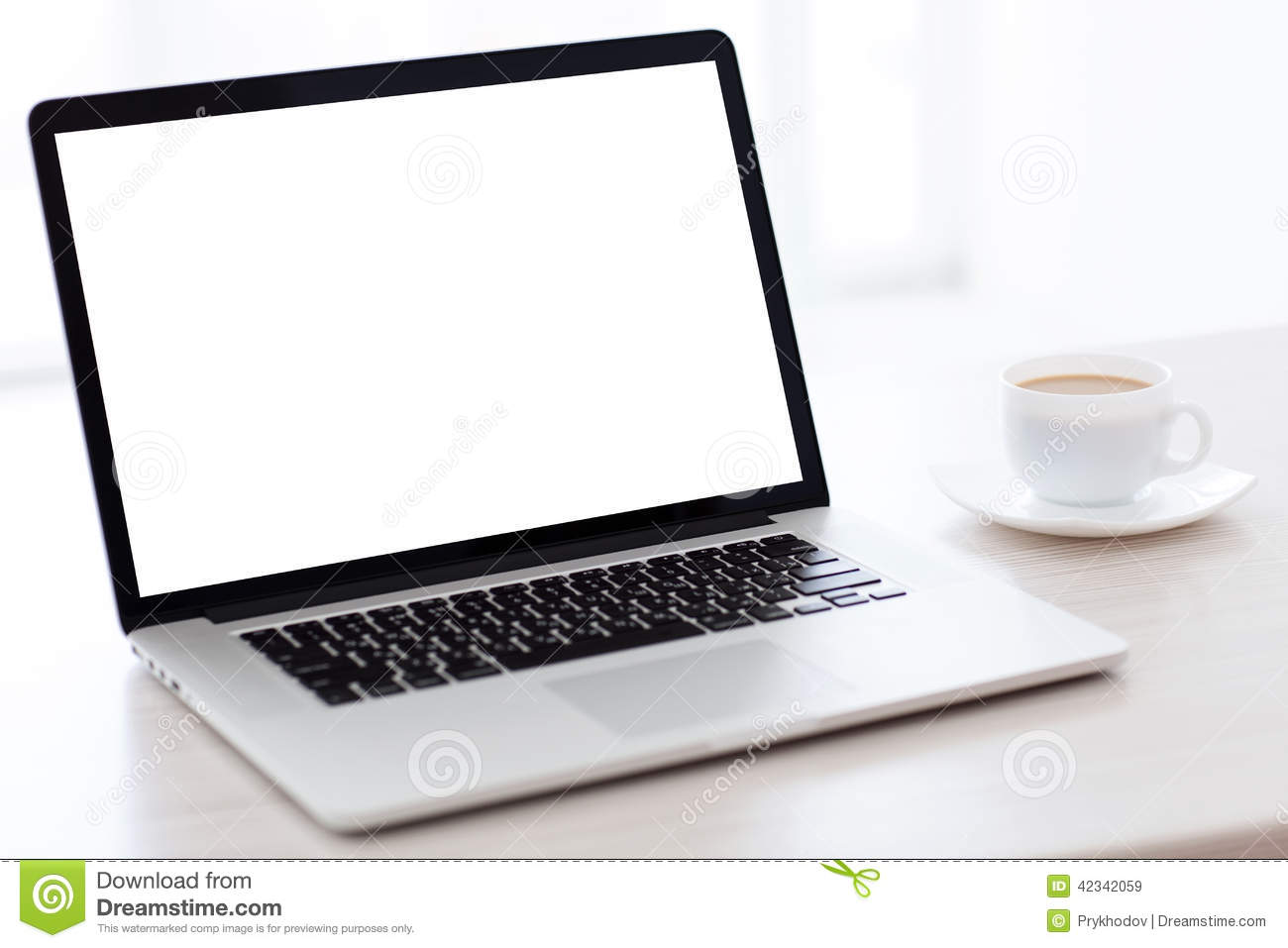 Laptop Computer With Screen Is On The Table In A White Stock Photo Image 42342059