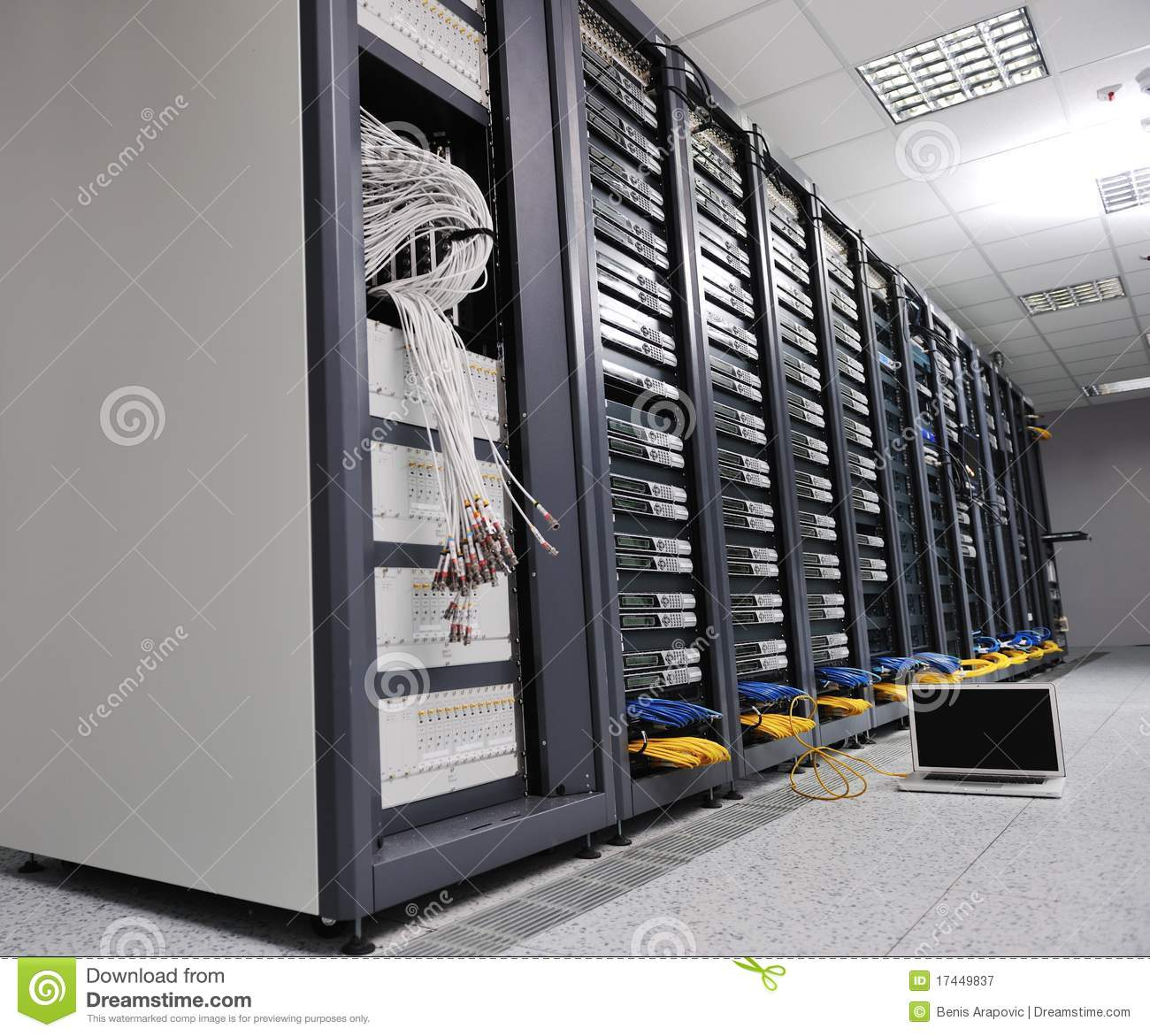 Laptop Computer At Server Network Room Stock Image Image