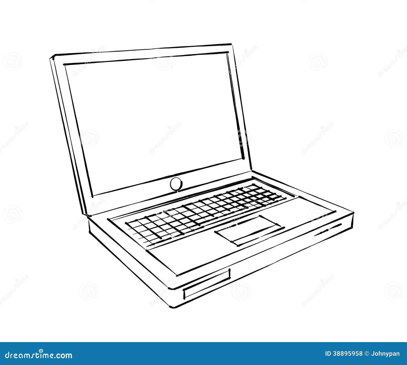 Laptop Computer Sketch Stock Illustration Image 38895958