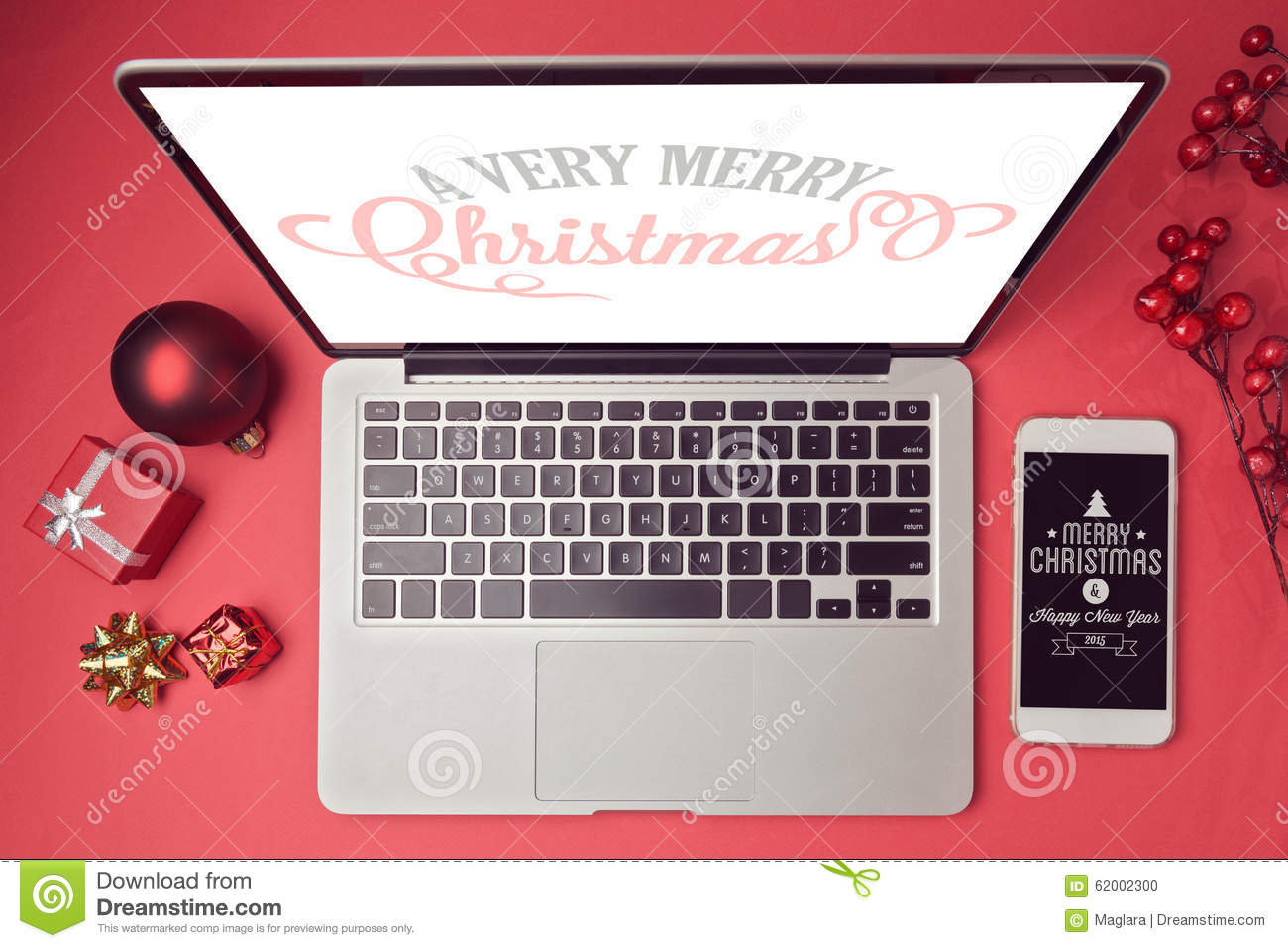 Laptop Computer And Smartphone With Christmas Decorations