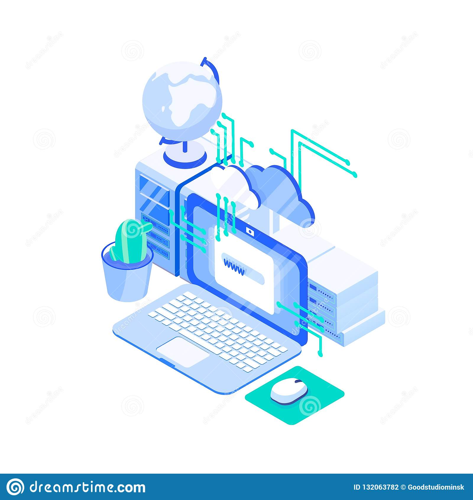 Laptop computer, stack of servers and globe. Web or internet hosting technology, online website support service, cloud