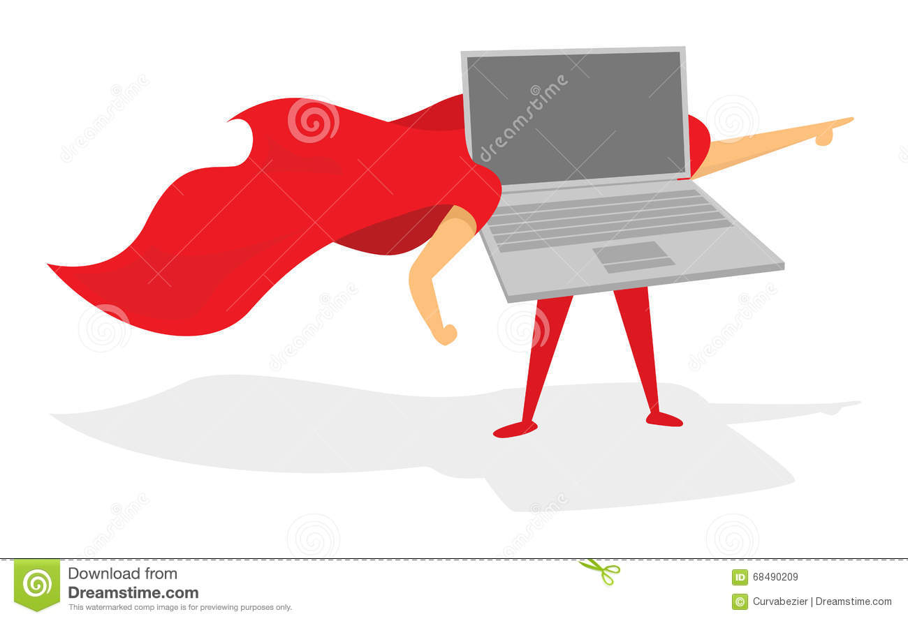 Laptop Or Computer Super Hero Standing With Cape Stock