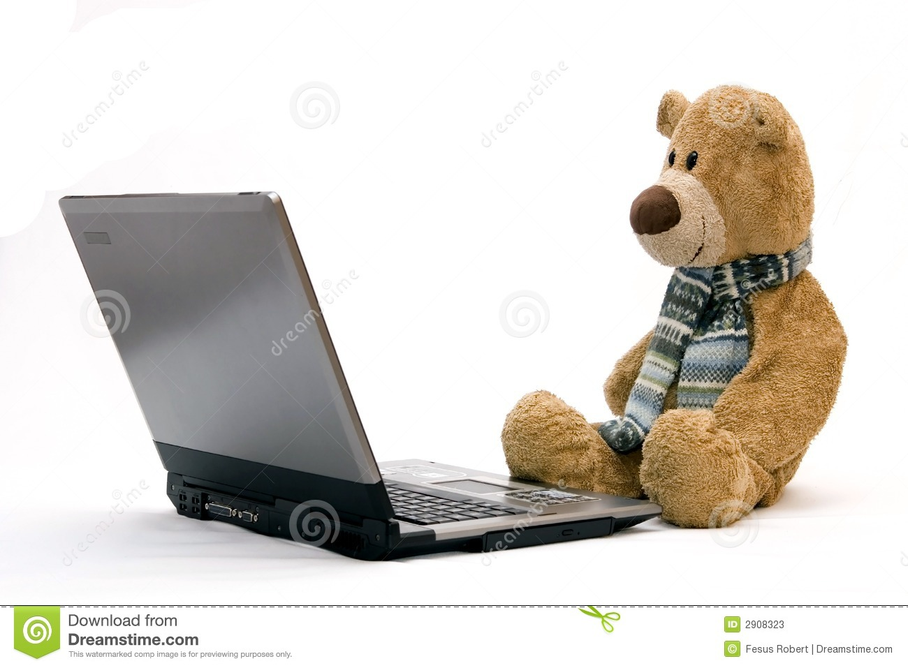 Laptop Computer And Teddy Bear Stock Image Image Of Gift