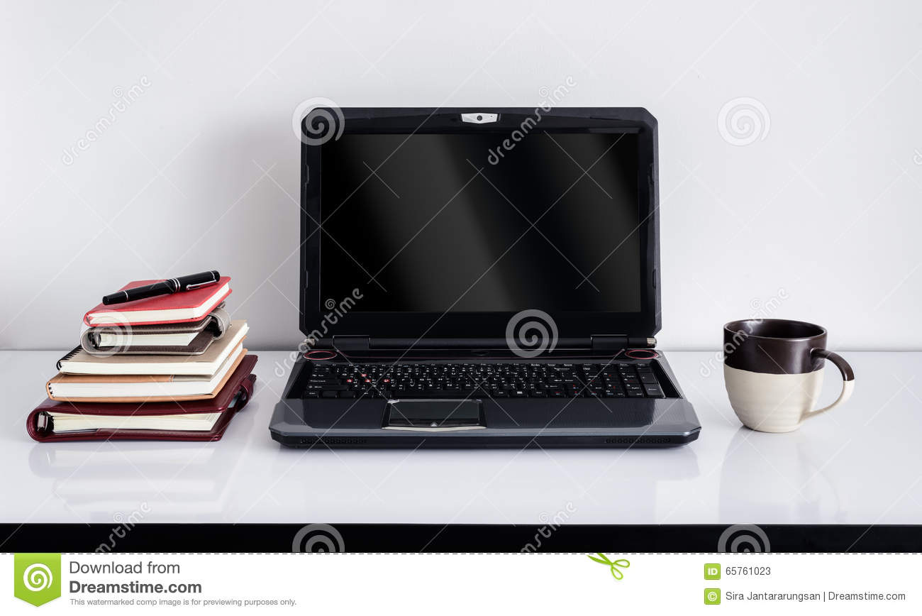 laptop computer on top of office table of a businessman stock image rh dreamstime com Office Desk Edge Protector People around Table Office