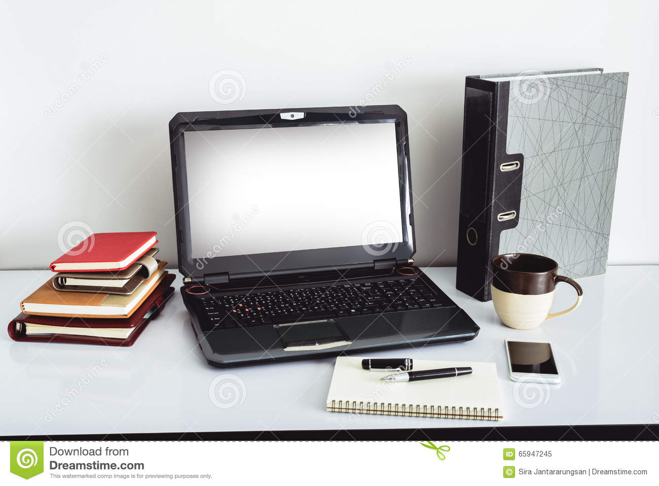 laptop computer on top of office table of a businessman stock image rh dreamstime com People around Table Office Table Top Files On It