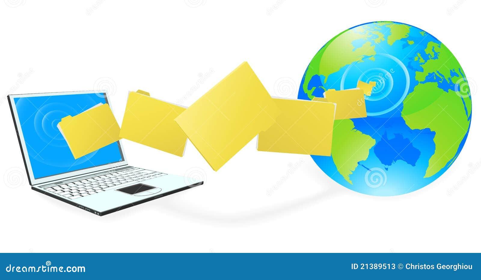 Laptop Computer Uploading Or Downloading Files Stock ...