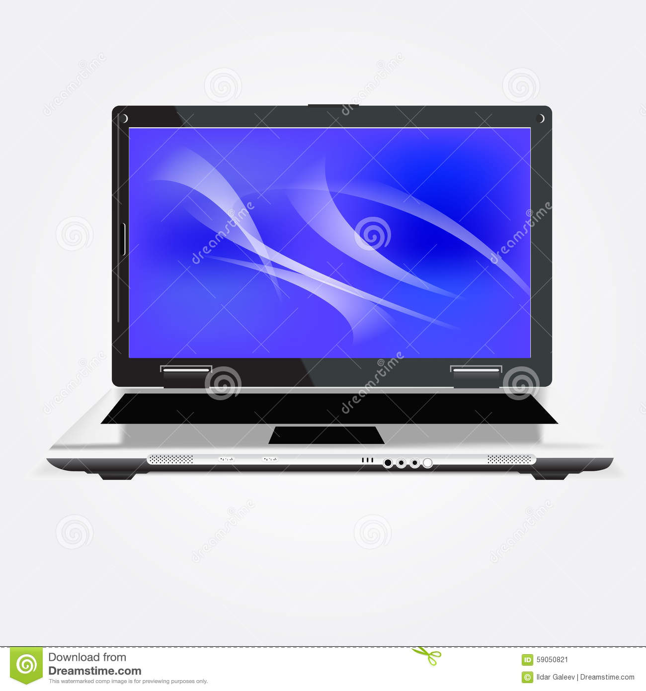 Laptop computer. Vector illustration isolated over white background.