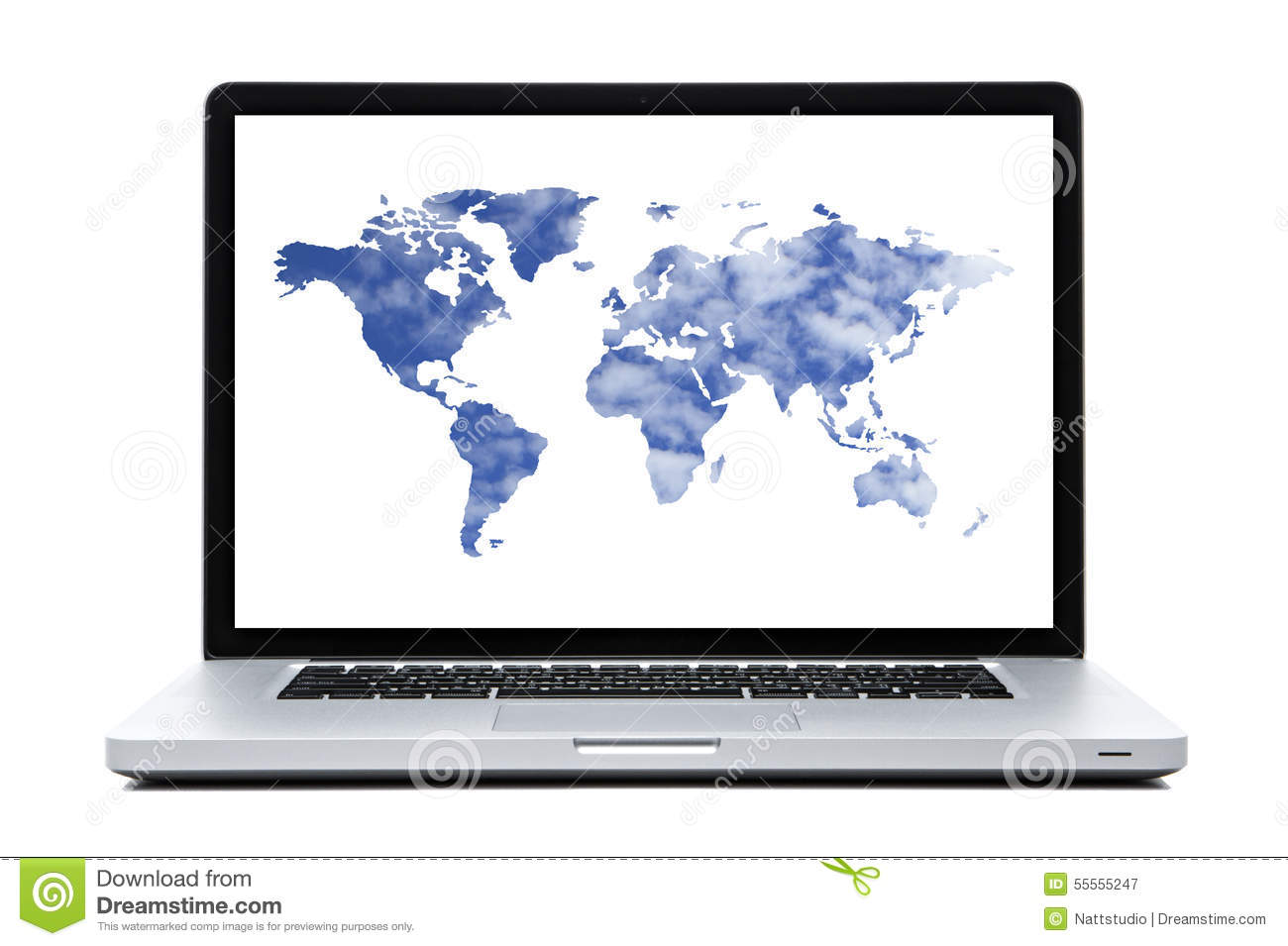 Laptop computer with world map shaped clouds stock image image of laptop computer with world map shaped clouds royalty free stock photo gumiabroncs Images