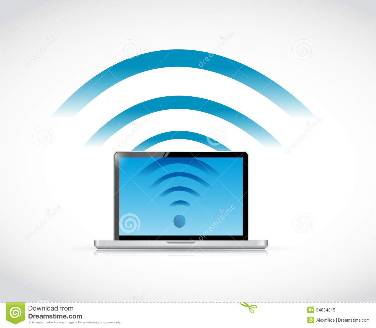 Laptop connection wifi illustration design royalty free for Architecture wifi
