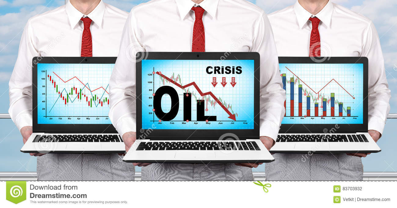 Laptop With Crisis Chart On Screen Stock Photo