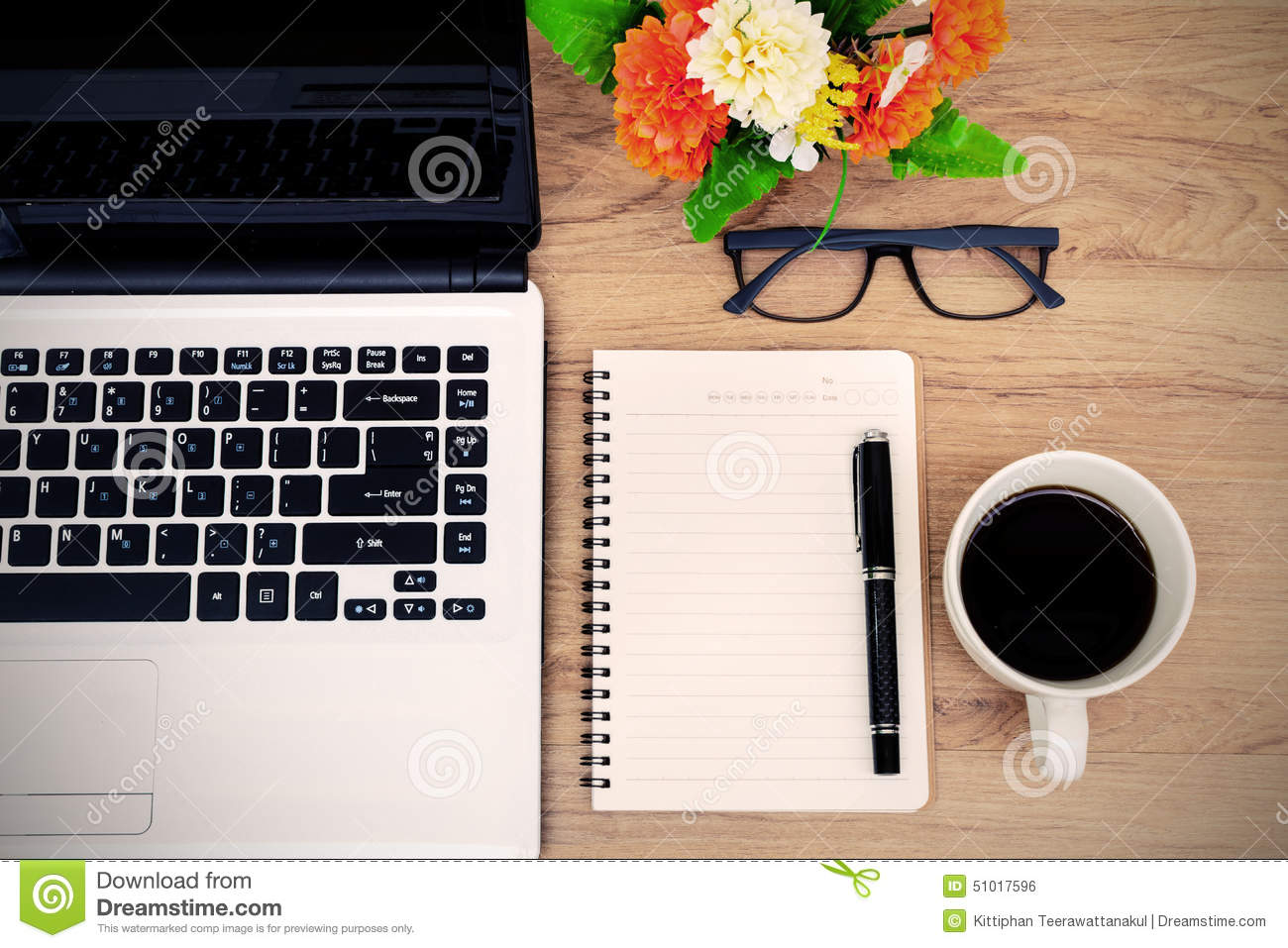 Amazing Laptop And Cup Of Coffee With Flower On Desk. Table, Notebook. Amazing Ideas