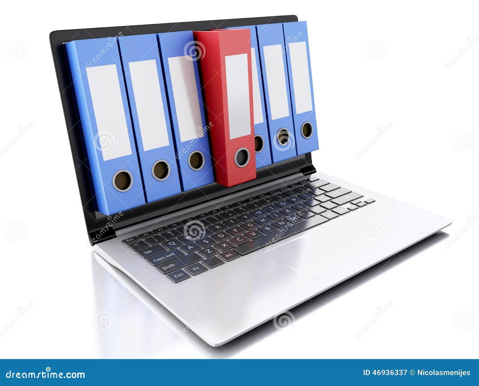 Laptop 3d und Dateien Weißer Hintergrund