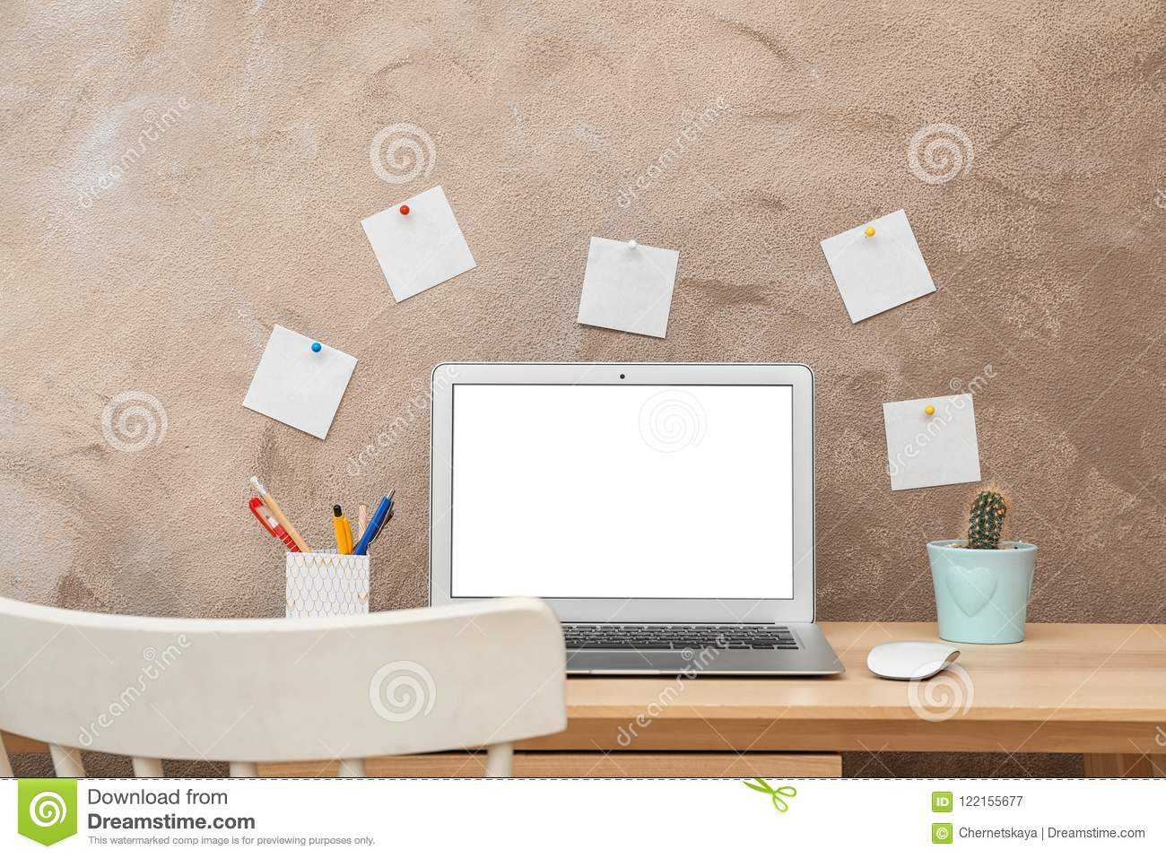 Stupendous Laptop On Desk Against Color Wall In Home Office Stock Image Download Free Architecture Designs Scobabritishbridgeorg