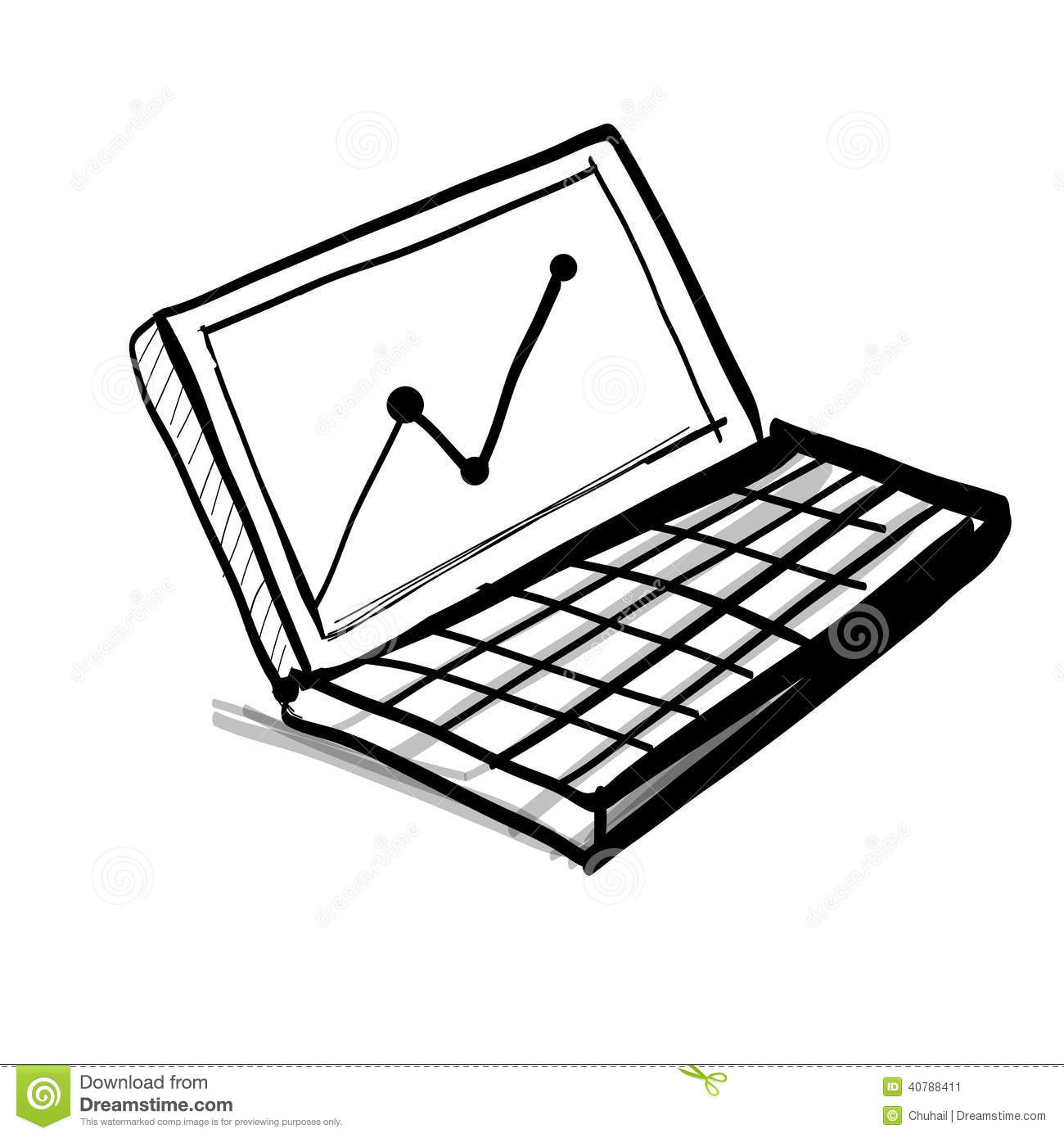 laptop with diagram and chart