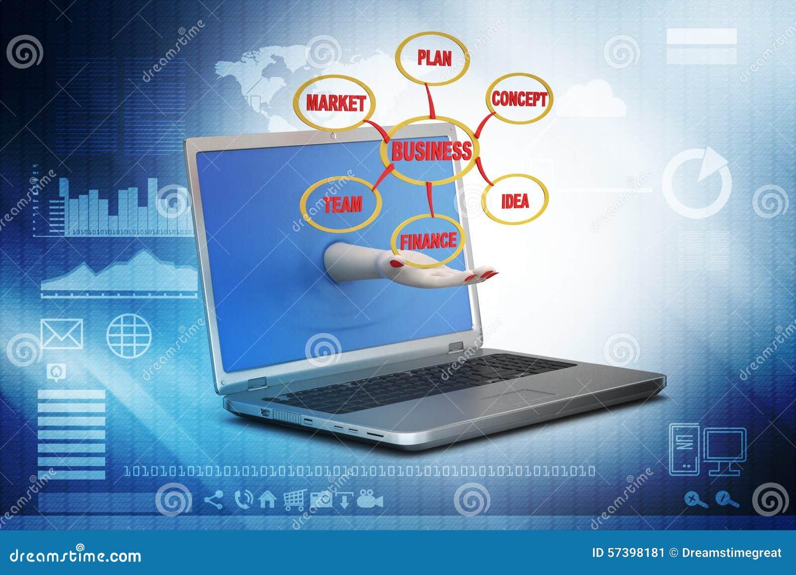 Laptop die bedrijfsgrafiek tonen
