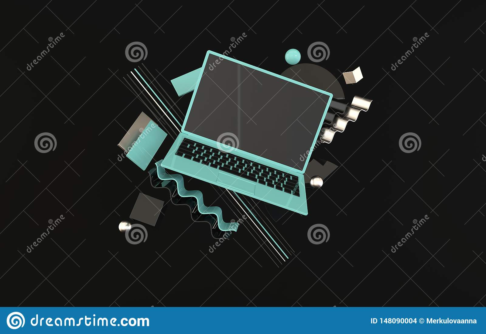 Laptop and different geometric objects mockup background in modern minimal style. Notebook 3d render in black and blue colors.