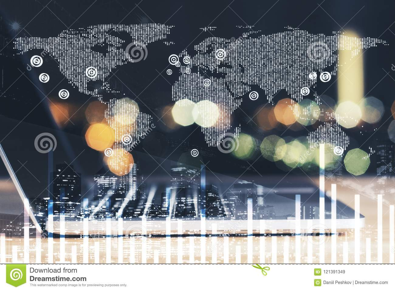 Laptop and digital world map with financial chart stock image laptop and digital world map with financial chart royalty free stock photo gumiabroncs Choice Image