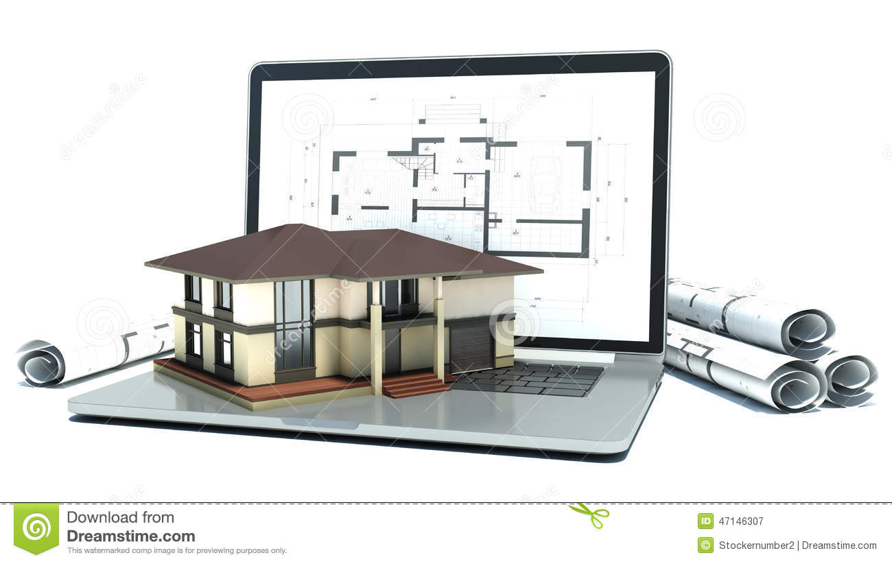 Laptop and drawings with house project 3d stock for Dessin de maison en 3d