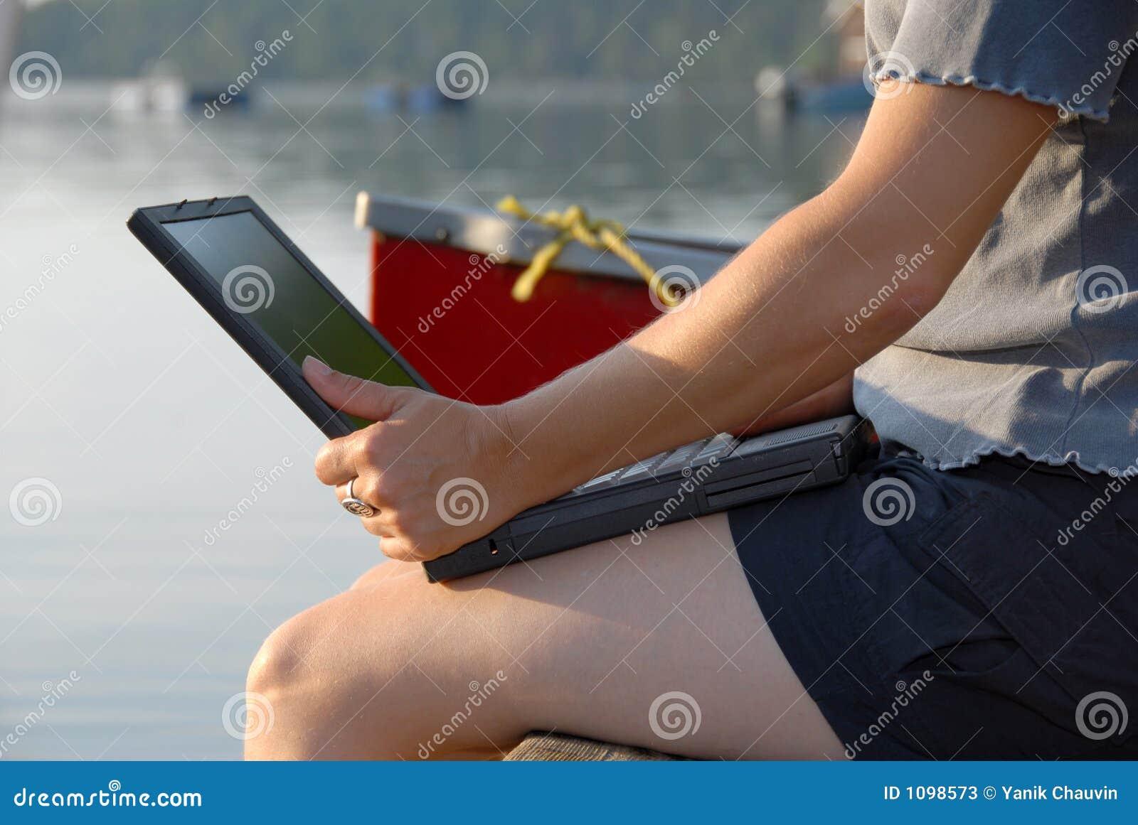 Laptop durch das Wasser