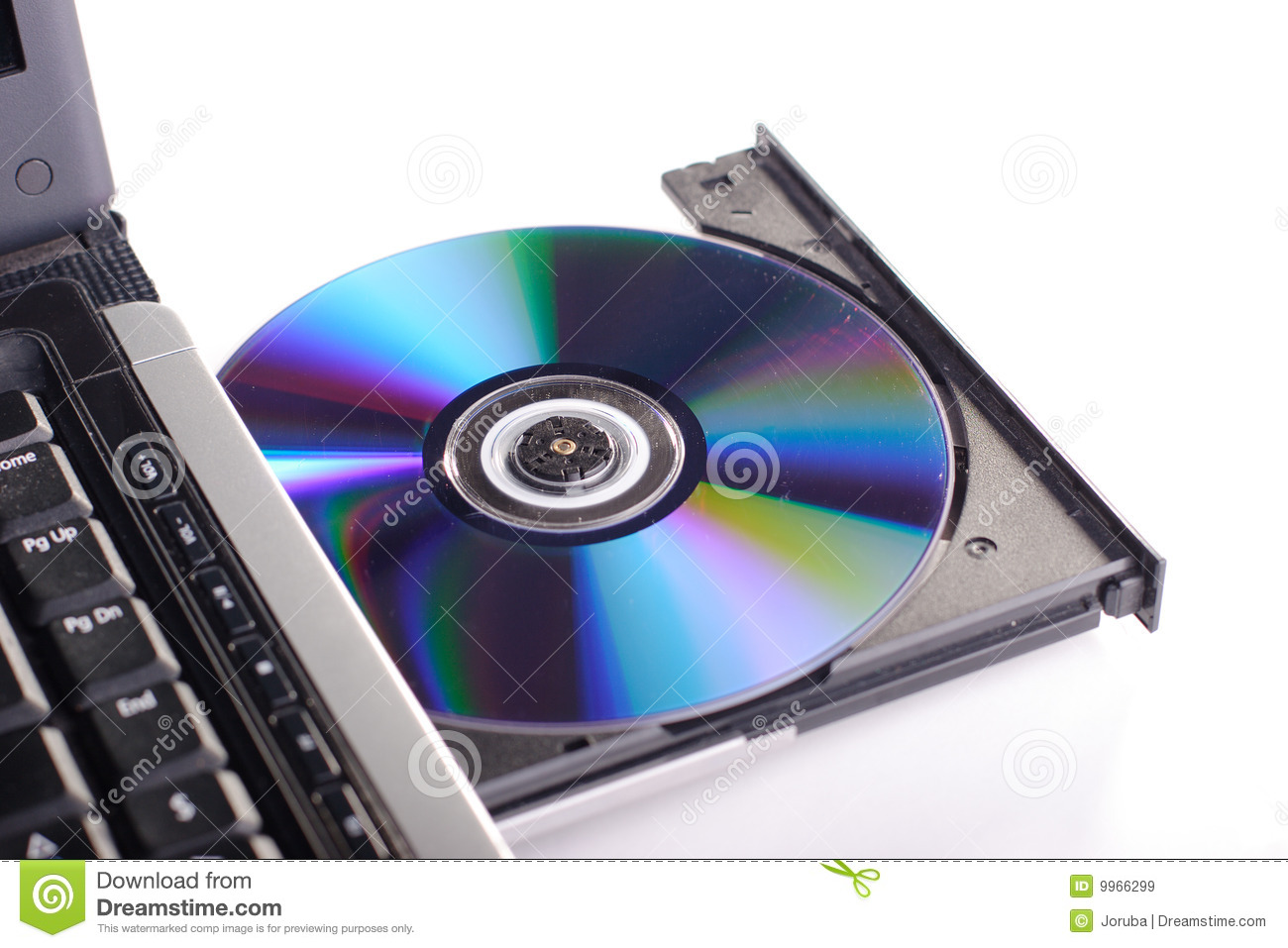 Dvd Rom On A Laptop Opened To Show Disc Isolated Royalty