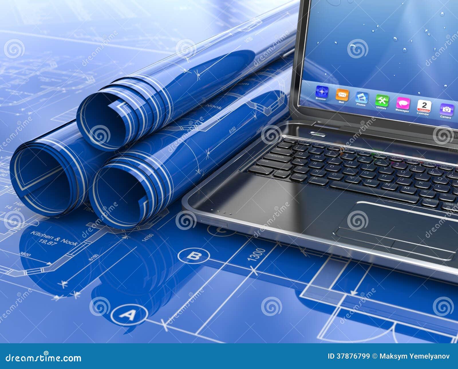 Laptop en blauwdruk met huisproject.