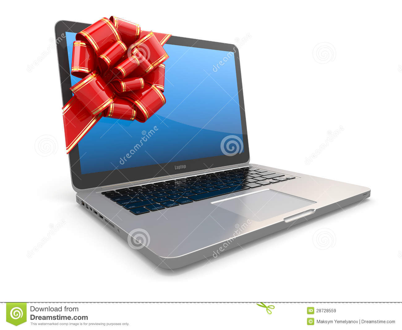 Laptop Gift. Bow And Ribbon On Screen Royalty Free Stock ...