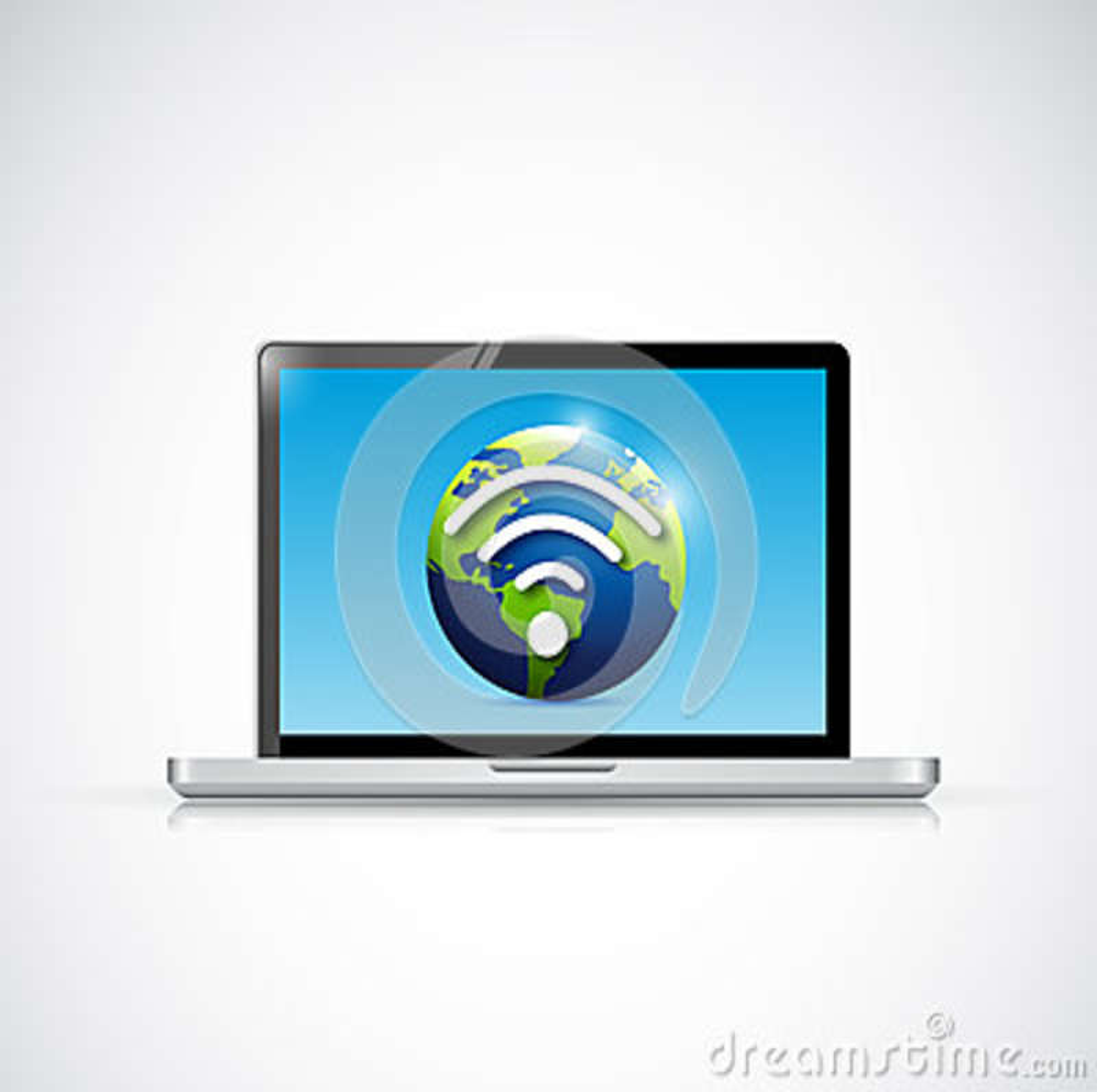 Laptop and globe wifi signal illustration design